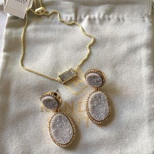 BaubleBar Grey and Gold  Drusi Drop Earrings NWT